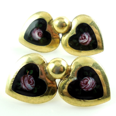 Vintage Art Deco Sterling Silver Gold Overlay Enamel Flower Heart Screw Earrings