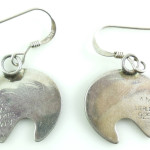 Native American Am Sterling Silver Bear Dangle Earrings Pierced