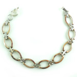 Vintage 950 Silver And 18k Rose Gold Reversible Link Bracelet