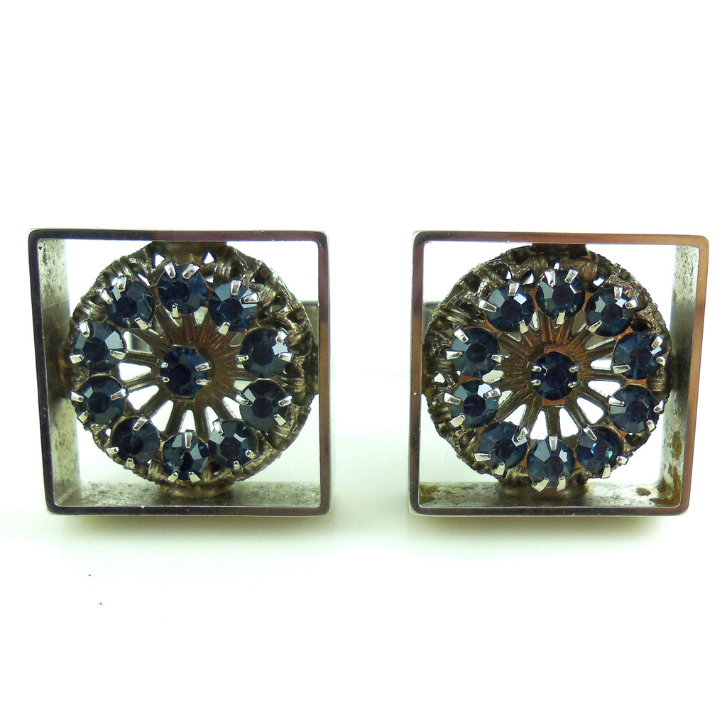 Vintage Fancy Blue Faceted Rhinestones Mens Swivel Cufflinks