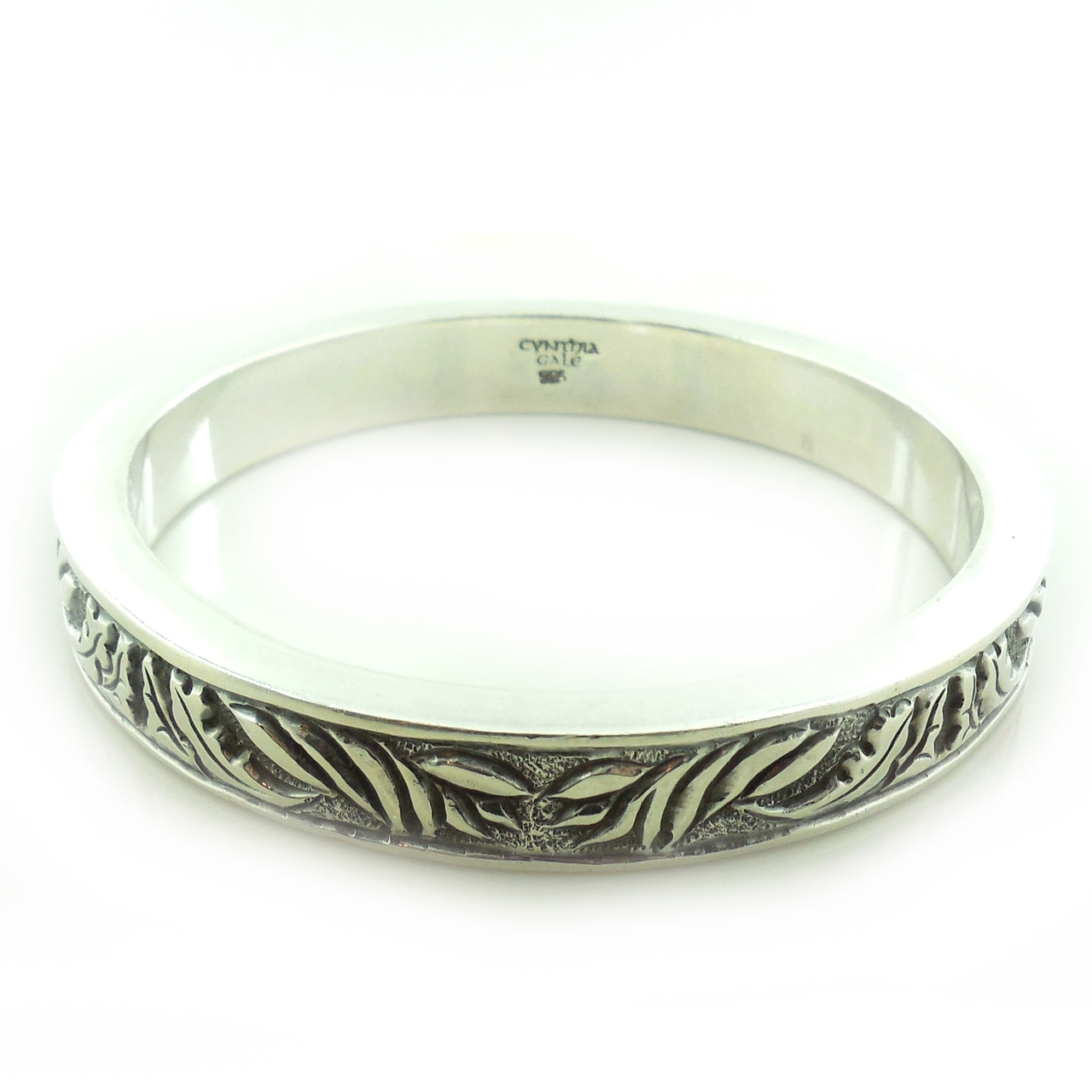Cynthia Gale Sterling Silver Artistic Impression Geo Art Bangle Bracelet
