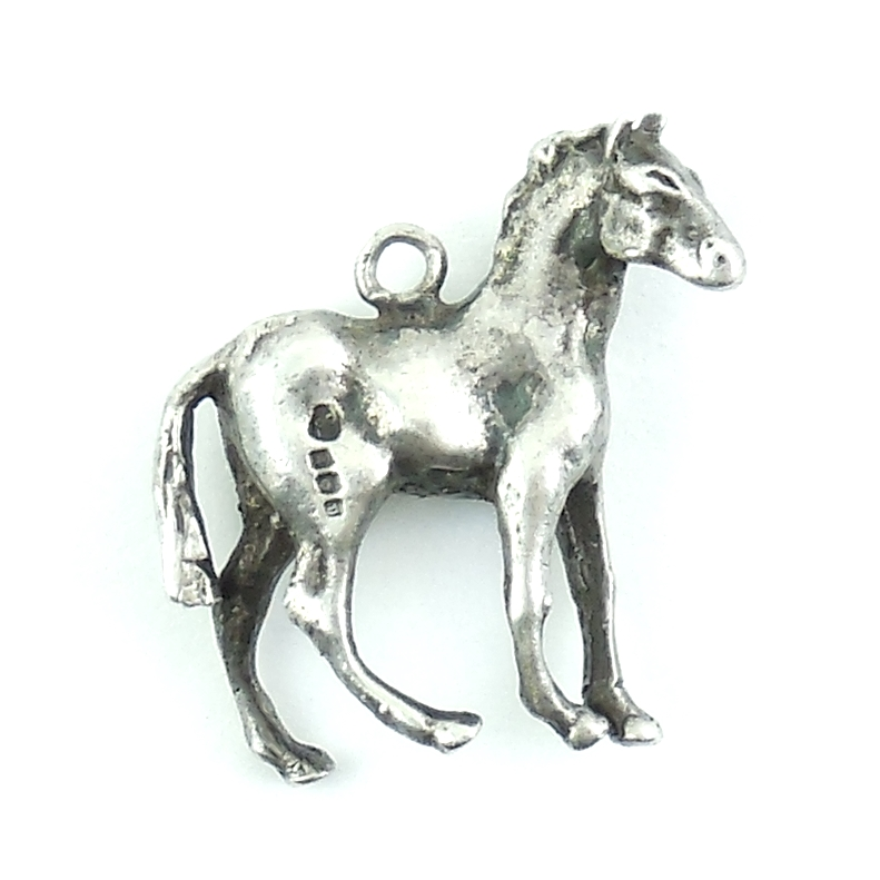 Vintage Sterling Silver Horse Charm With Hallmarks