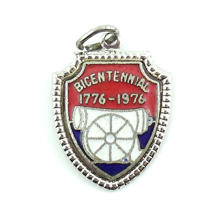 Vintage Sterling Silver Bicentennial Charm With Red White And Blue Enamel