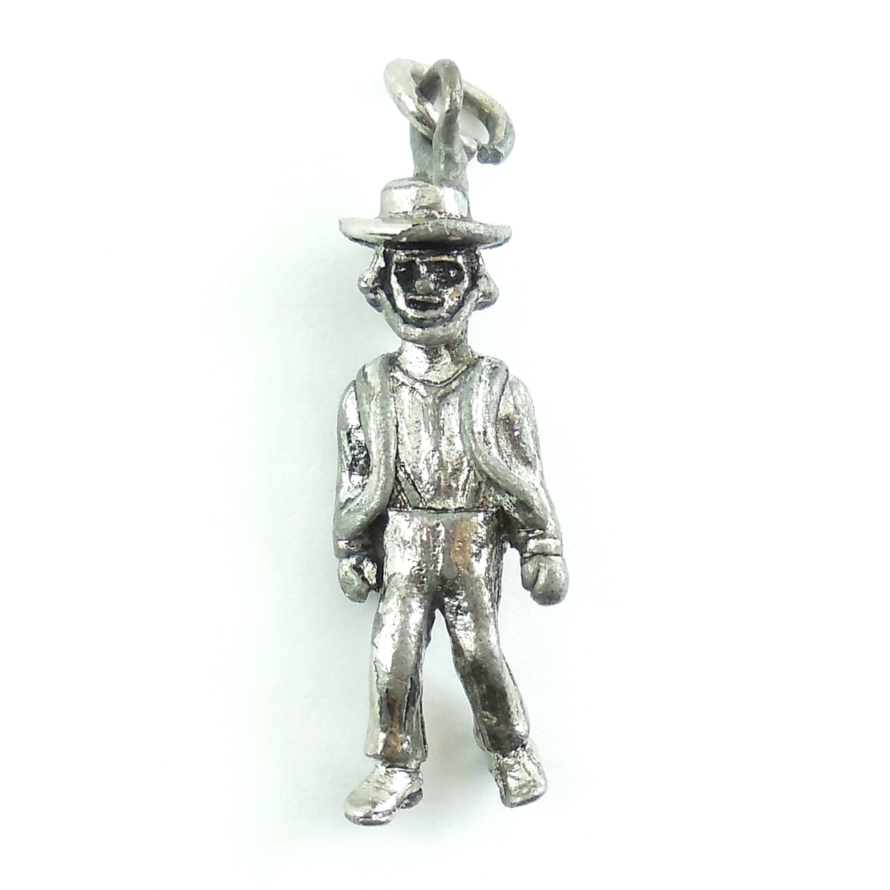 Vintage Sterling Silver Farmer Or Town Person Charm