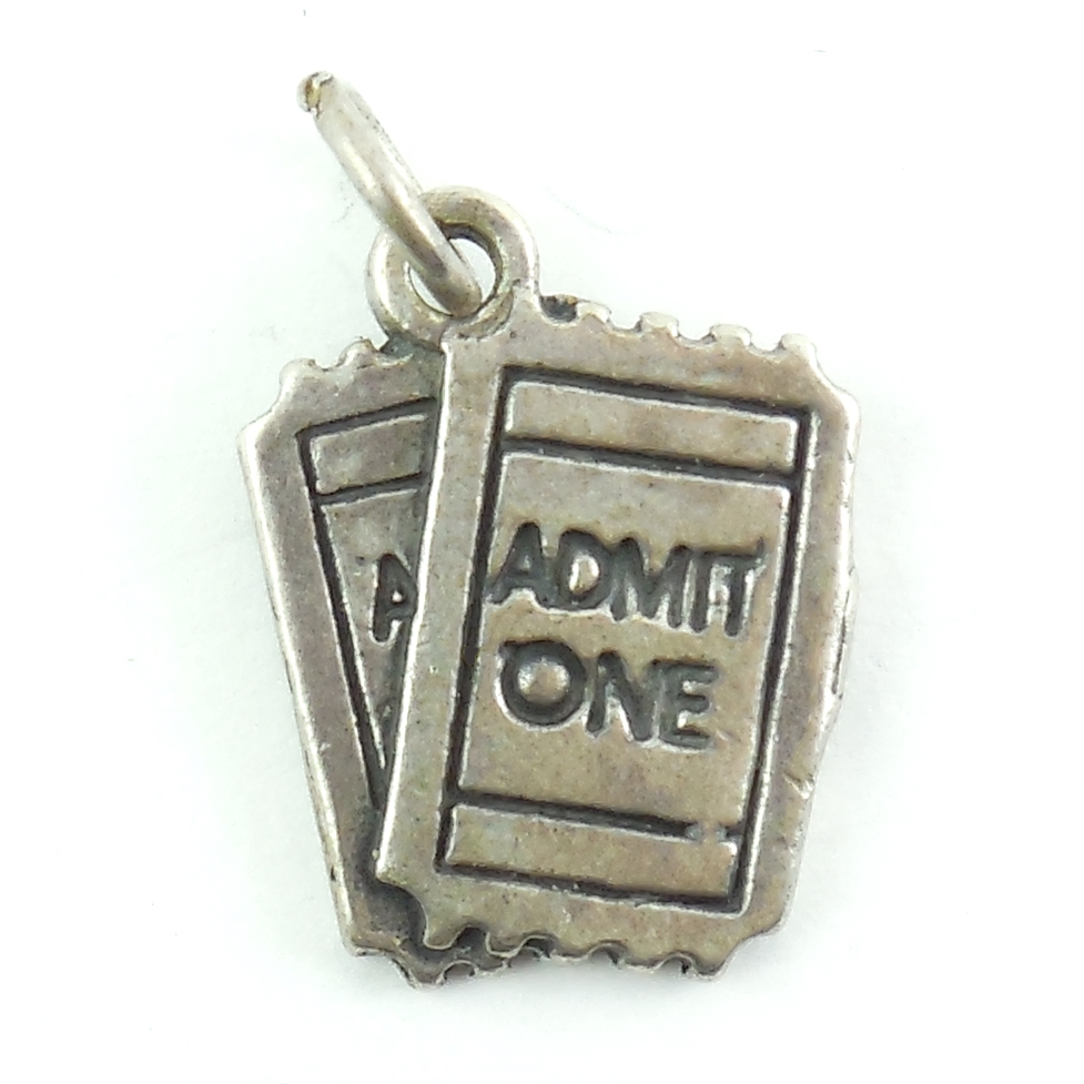 "Sterling Silver Tickets €Œadmit One"" Vintage Hallmarked Charm"