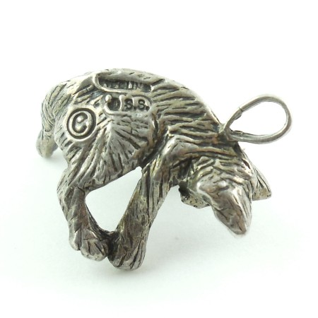 Vintage Sterling Silver Detailed Jumping Cat Charm Marked Jss