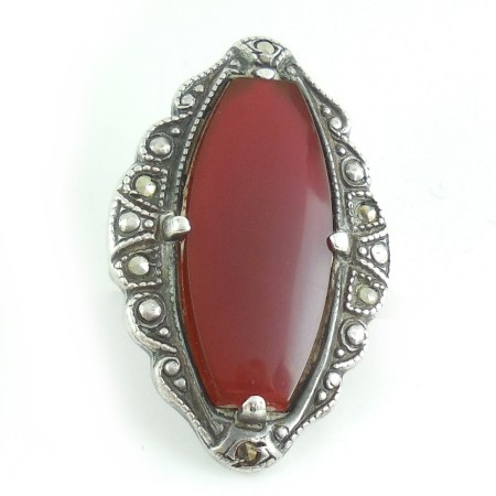 Antique Vintage Art Deco Sterling Silver Carnelian Marcasite Ring Size 4