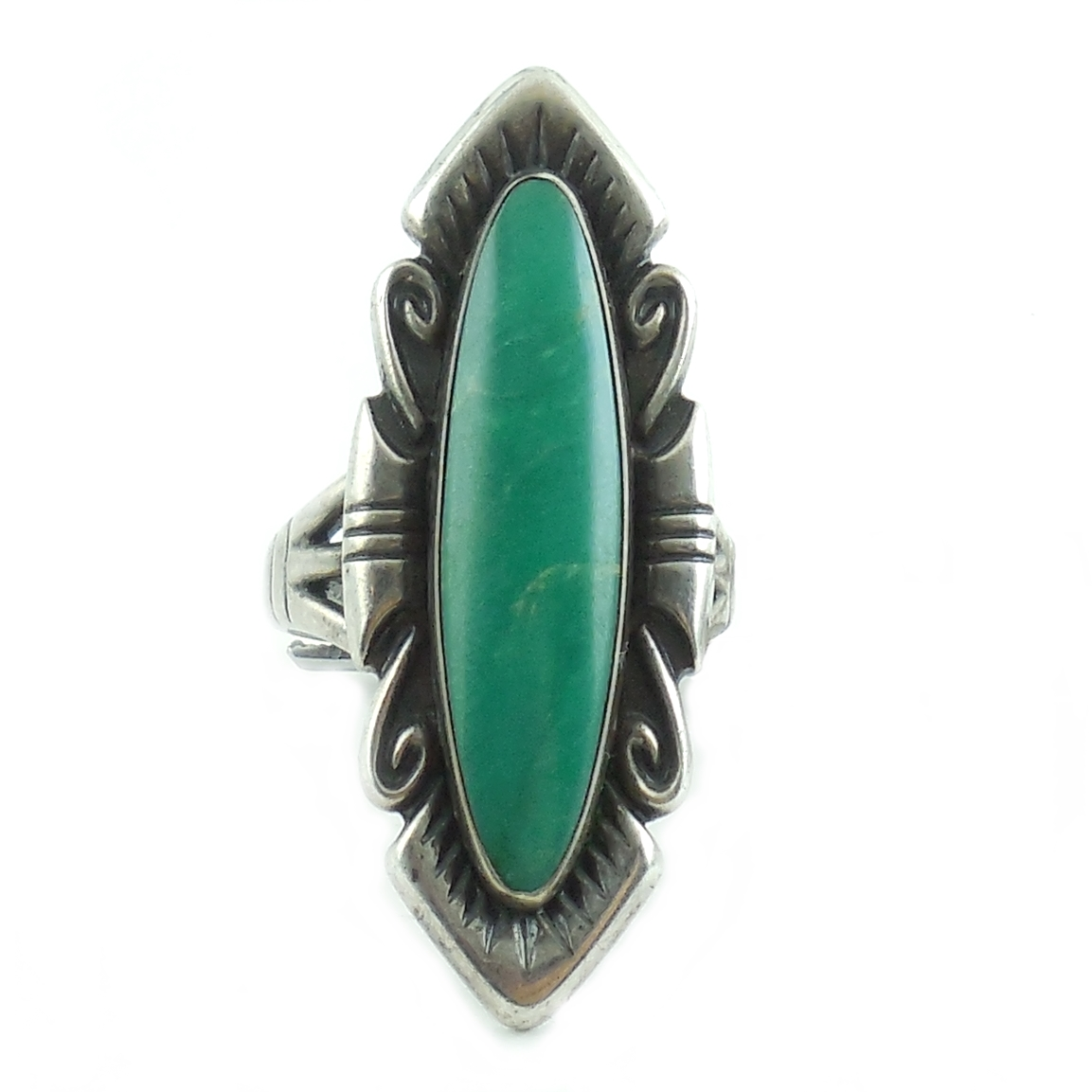 Long Southwestern Vintage Native American Sterling Silver Turquoise Ring Size 8