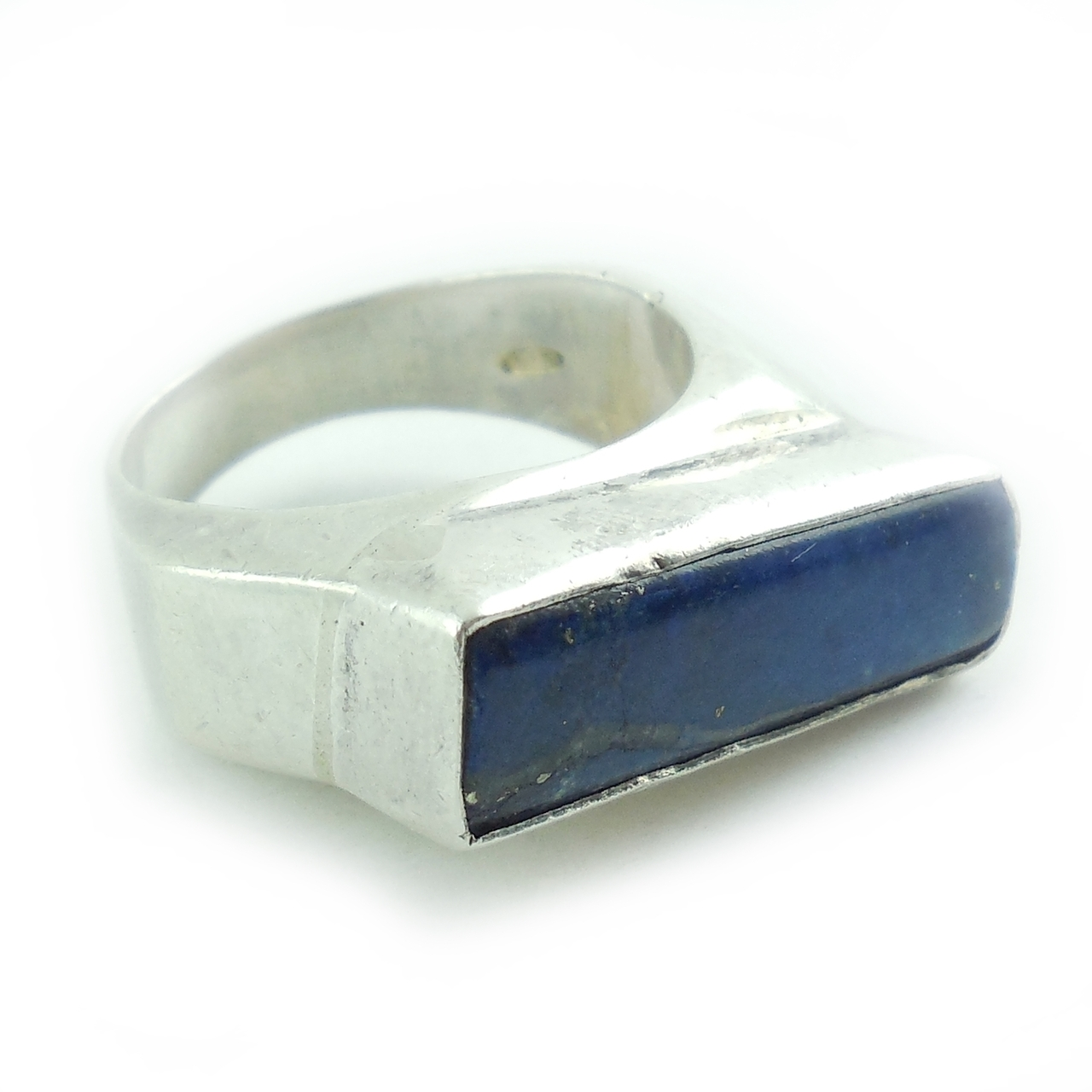 Vintage Modernist Sterling Silver Sodalite Ring Scandinavian Design 8.25 8 1/4