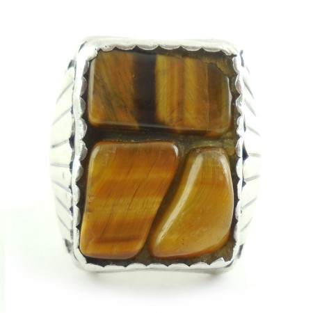 Hand Made Southwestern Native American Sterling Silver Tiger Eye Mens Ring Size 9
