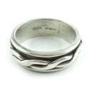 Vintage Hand Made Mens Mexican Sterling Silver Knot Spin Spinner Ring Size 11.5
