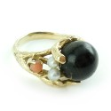 Vintage Hand Wrought 14k Gold Angelskin Coral Ebony Pearl Ring Size 7.5