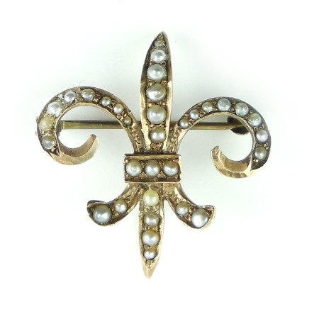Antique Victorian 10k Gold And Pearls Fleur De Lis Chatelaine Pin Pocket Watch