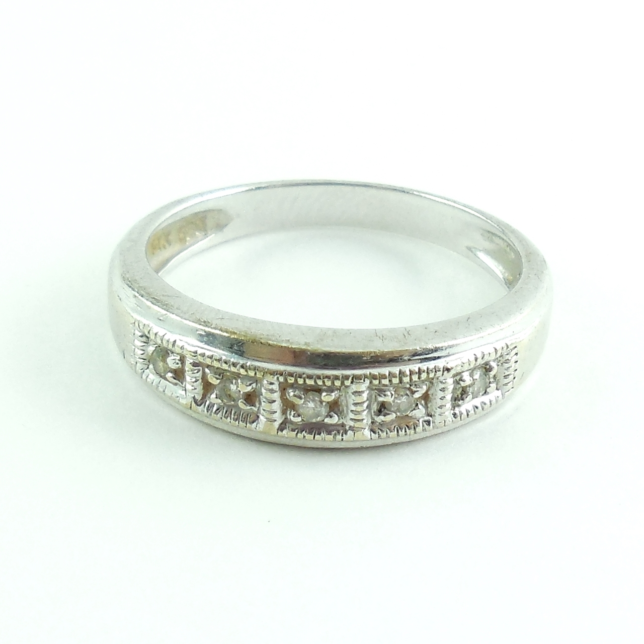 Fancy Xs 14k White Gold Ring Band With Small Diamond Accents Size 6.75