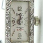 Art Deco Platinum Diamond And 14k Gold Eloga Swiss Bracelet Watch Wristwatch Size Small