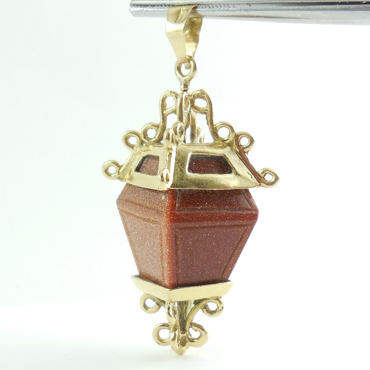 Large Vintage 14k Gold Carved Goldstone Street Lamp Pendant Charm Restore Repurpose