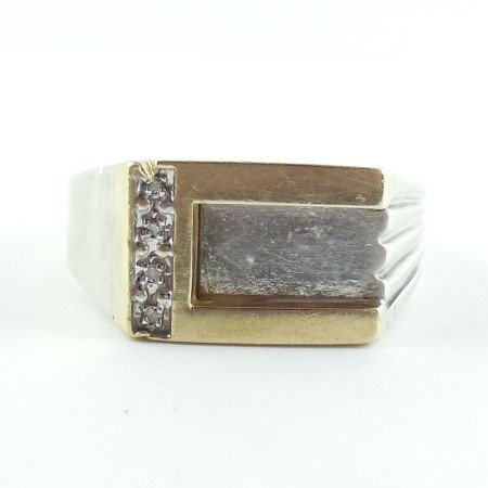 Vintage Diamond 10k Yellow Gold Sterling Silver Modern Mens Ring Size 11.75