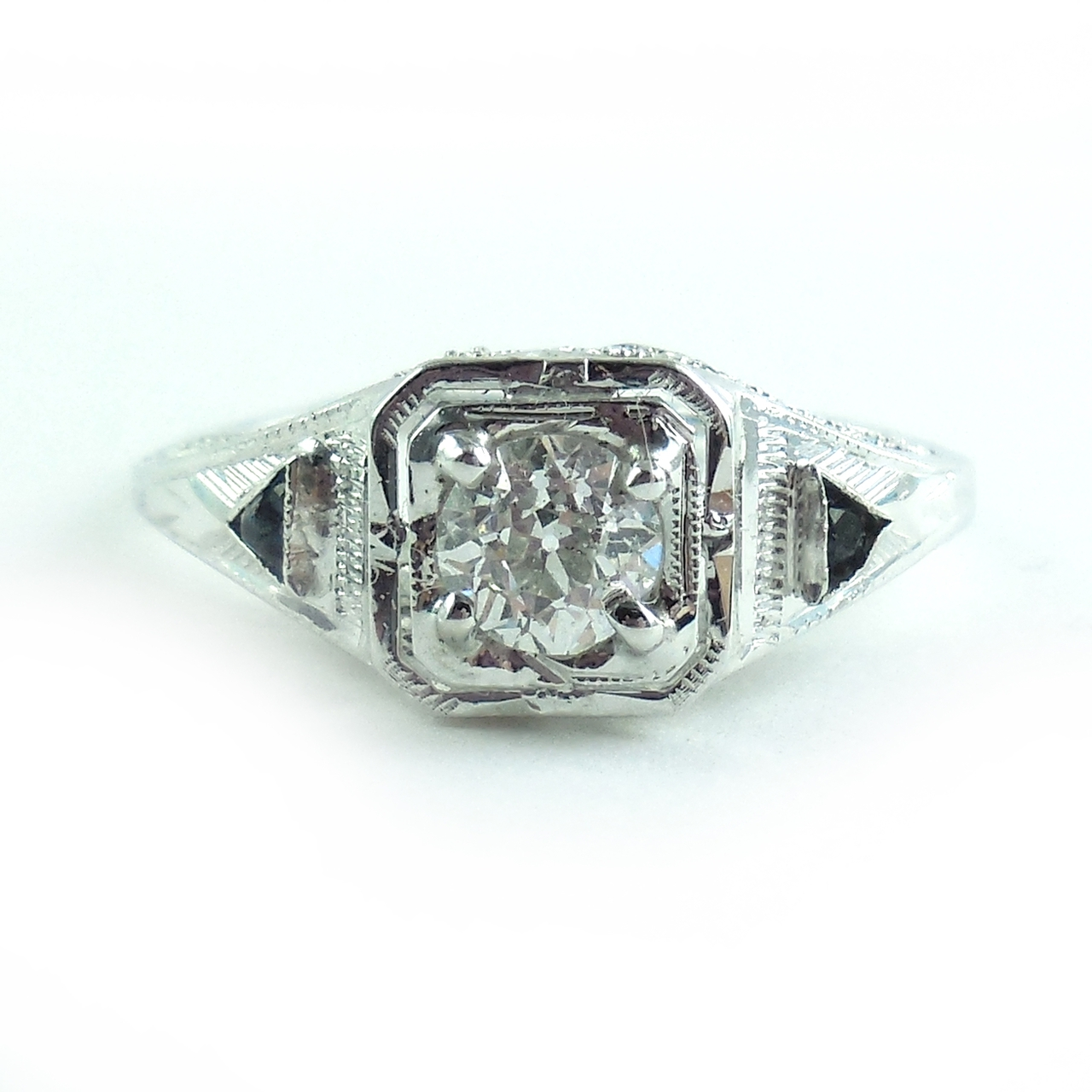 Antique Art Deco 14k White Gold Mine Cut Diamond Sapphire Fancy Filigree Ring Size 7.5