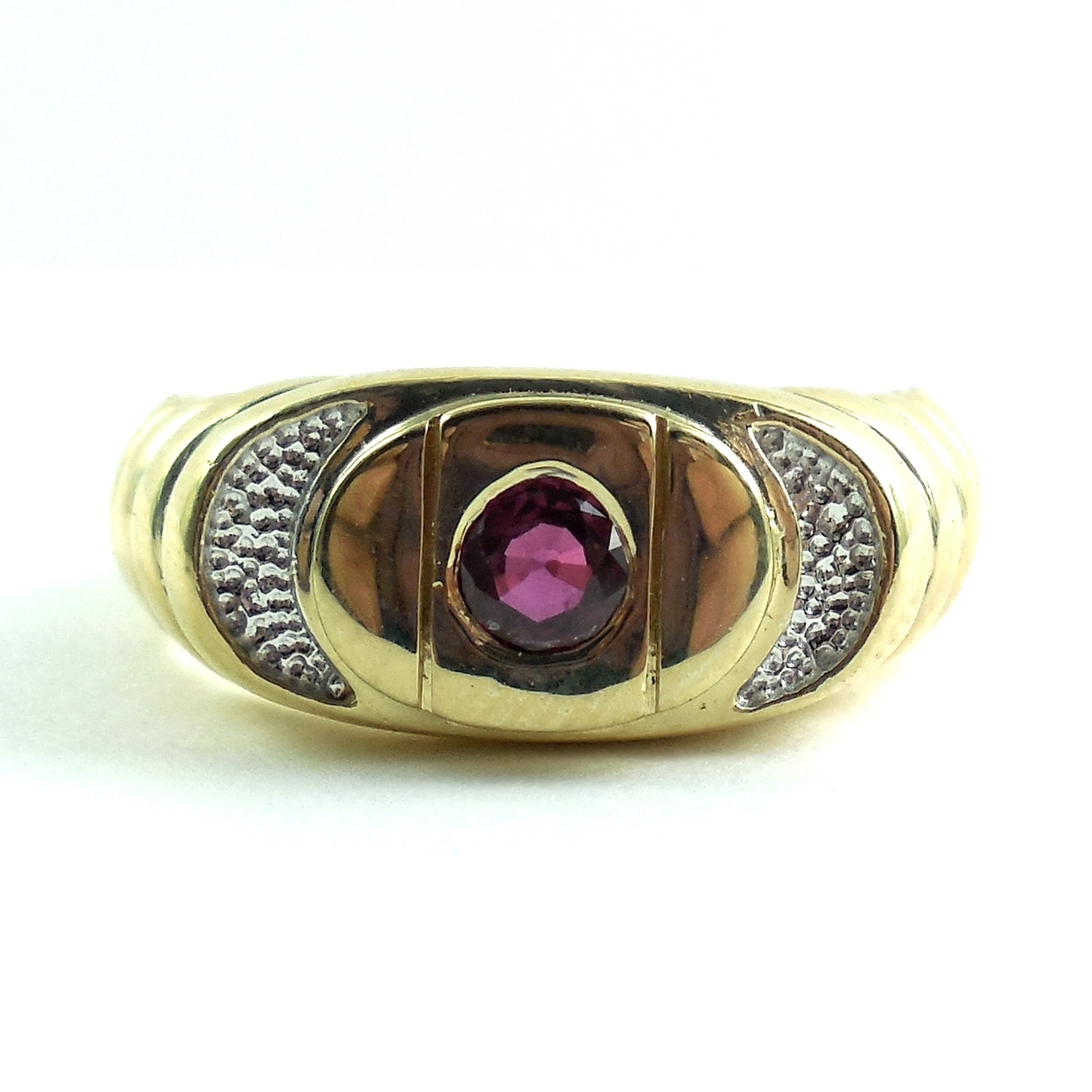 Contemporary 14k Gold And Ruby Mens Ring Size 9.5