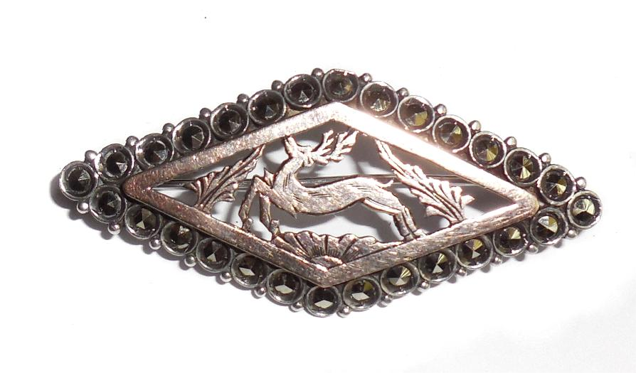 Vintage Art Deco Hand Cut Stelring Silver Gold Overlay Marcasites Running Deer Pin