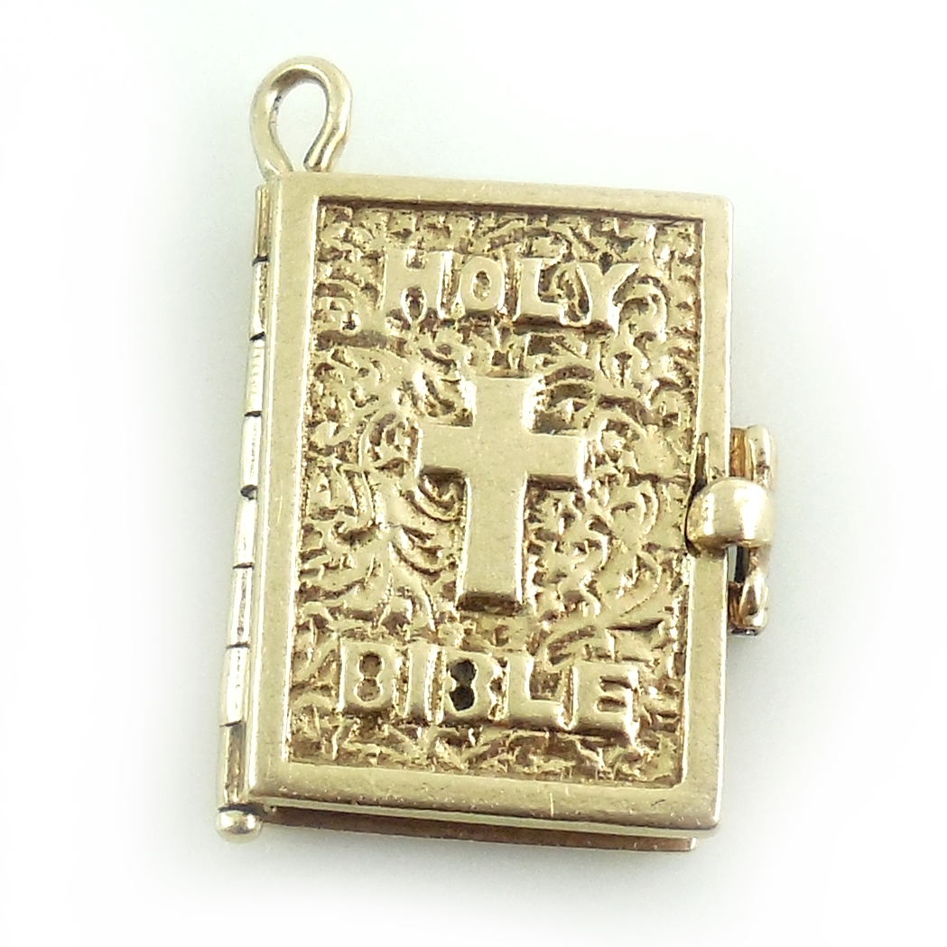 Vintage Art Deco 14k Gold Fancy 2 Page Prayer Bible Book Charm Christian Catholic