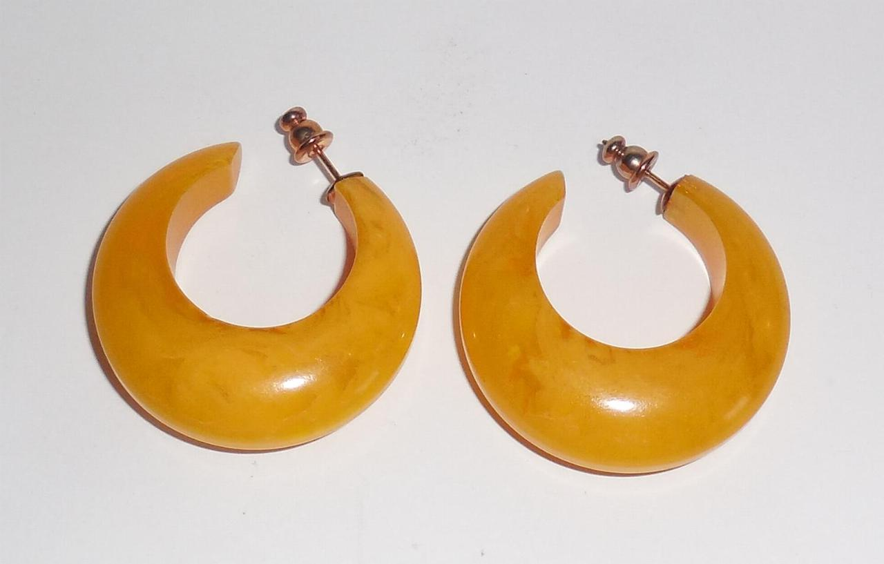 Thick Chunky Vintage Marbled Lemon Butterscotch Bakelite Wide Crescent Earrings