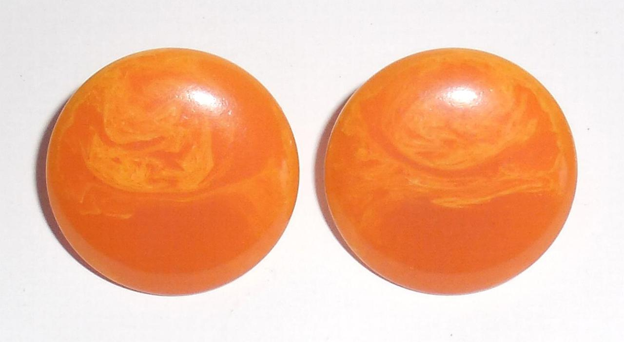 Vintage Orange And Peach Marbled Plastic Gold Plated Clip On Earrings No Wear