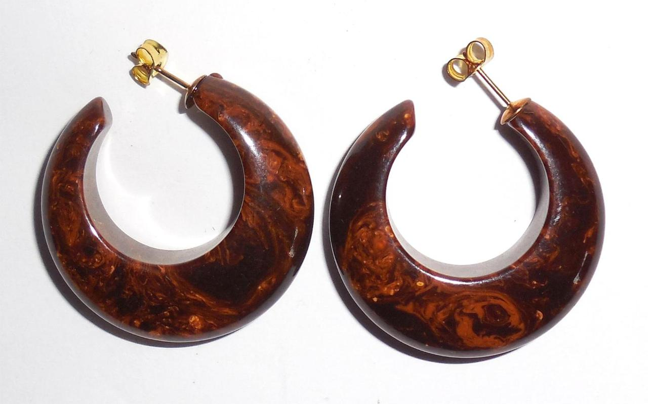 Thick Caramel Chocolate Gold Deep Marbled End Of Day Bakelite Open Hoop Earrings Pierced