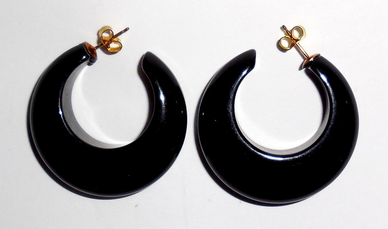 Vintage Thick Chunky Black Plastic Crescent Pierced Post Earrings Showy