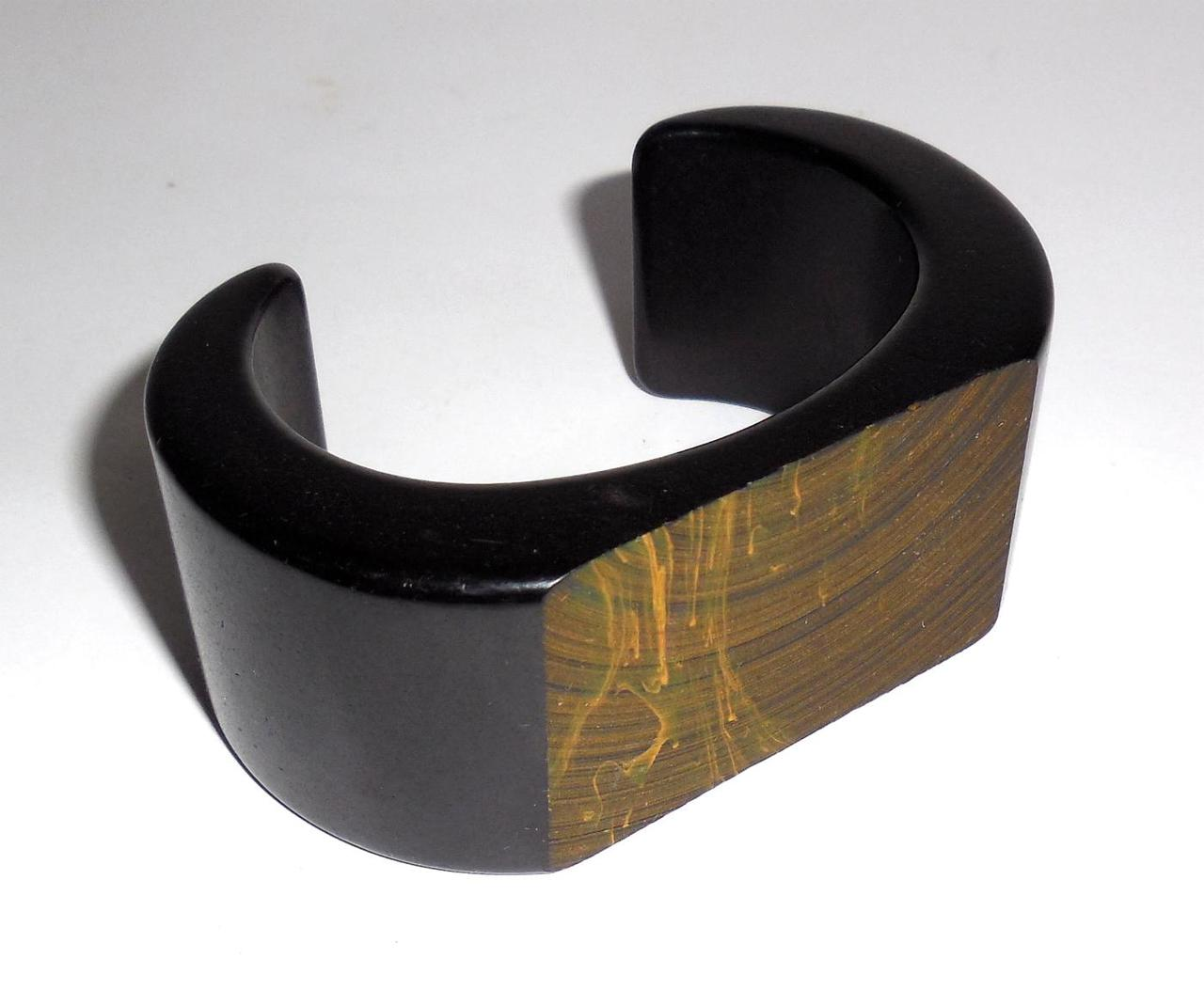 Wide Thick Heavy Chunky Vintage Open Cuff Black Plastic Bracelet Textured Top Paint Size Small