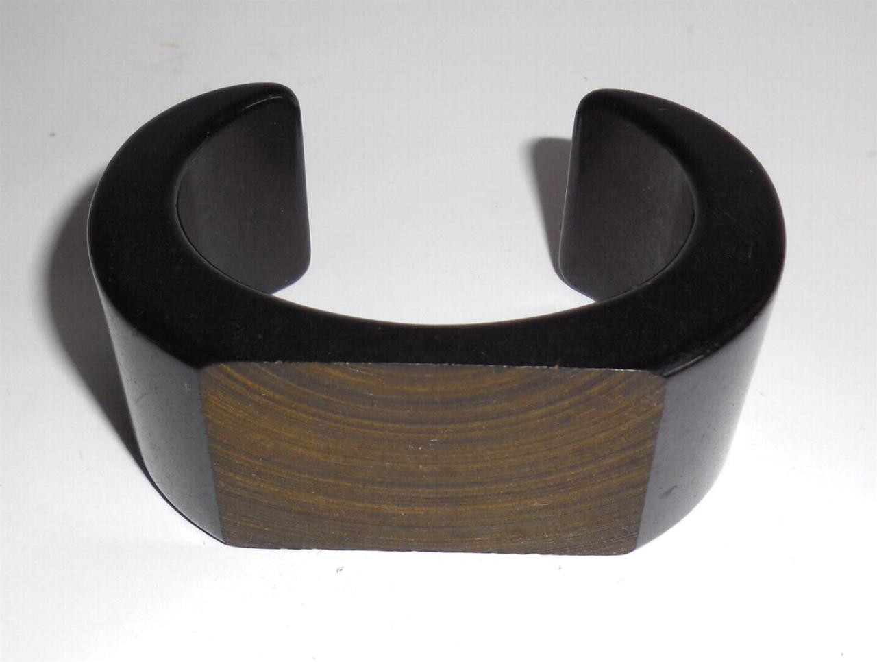 Wide Thick Chunky Vintage Open Cuff Plastic Bracelet Textured Carved Top Size Small