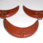 Large Art Deco Carved 2 Color Butterscotch Marbled Caramel Bakelite Pin And Buckle Set