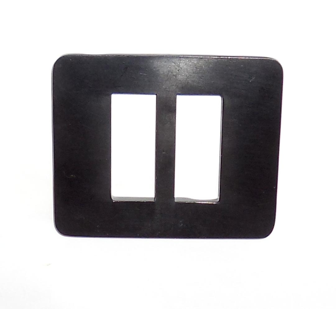 Thick Vintage 1950s Midnight Black Carved Transitional Plastic Belt Buckle Large