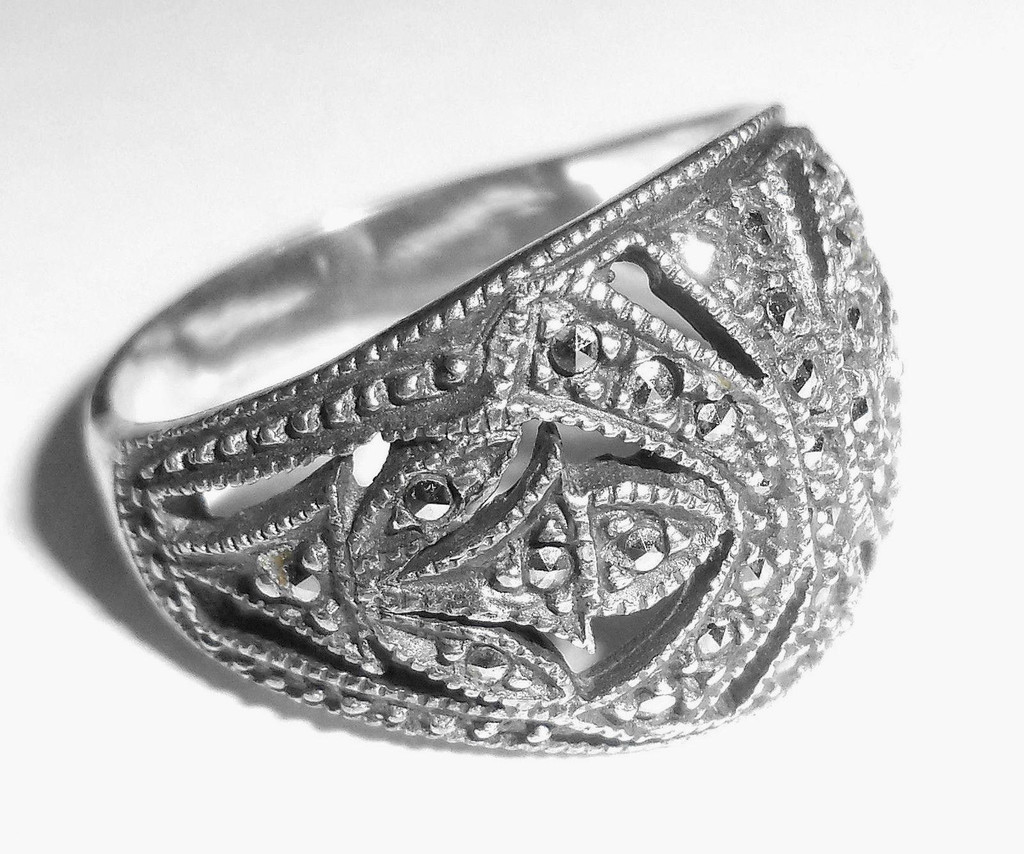 Vintage Sterling Silver And Marcasite Judith Jack Dome Ring Size 6.75