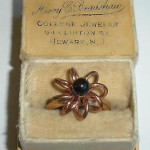 1930s Antique Art Deco Gold Filled Onyx Spiral Ring In Original Box 6.5 Adjstable Size
