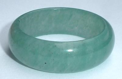 Treated Green Stone Jade Bangle Ring Band Stacker Size Large 11.25