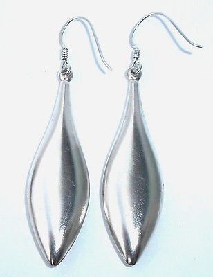 925 Sterling Silver Long Oval Teardrop Pierced Dangle Earrings