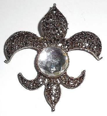 Huge Vintage Fleur De Lis Fancy Open Work Pendant