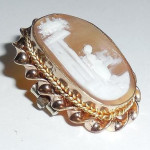 Antique Victorian Gold Filled Carved Natural Shell Cameo Lingerie Dress Pin