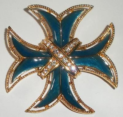 Large Vintage Monet Enamel Rhinestone Cross Pin Bright Mint Condition