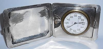 Antique Sterling Silver Travel Clock Ww1 World War 1 1919 Black Starr Frost