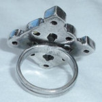 Big Vintage Hand Made Sterling Silver Multi Stone Ring Size 8