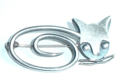 Vintage Delfino Mexican Sterling Silver Cat Pin