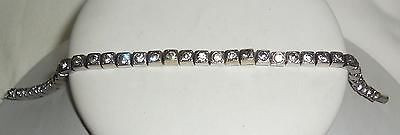 "Vintage Antique Art Deco Sterling Silver Bezel Set Paste Bracelet Size 7.5"" Long"