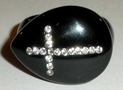 Big Chunky 27m Black Onyx Rhinestone Cross Ring Christian Size 8