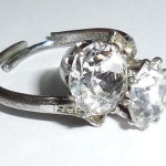 Art Deco Silver Plated 8mm Early Swarovski Crystals Ring Austria Adjustable
