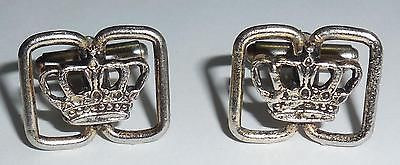Antique Vintage Art Deco Pot Metal Old White Metal Royal Crown Cufflinks Age Wear