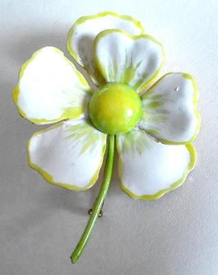 Big Vintage Original By Robert Lime Green Yellow Showy Flower Pin Excell No Wear