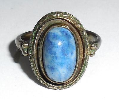 Antique Vintage Art Deco Fancy Hand Cut Brass Czech Glass Ring Size 7.75