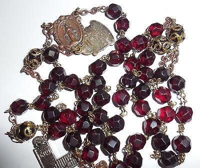 Vintage Italy Ruby Red 5 Joyful Mysteries Christian Catholic Rosary 39.5 Inches